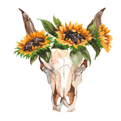 Watercolor isolated bull's head with flowers and feathers on white background. Boho style. Skull for wrapping, wallpaper, t-shir