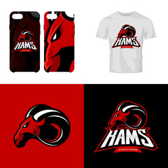 Red ram head sport club isolated vector logo concept.