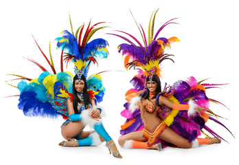 Smiling beautiful girls in a colorful carnival costume