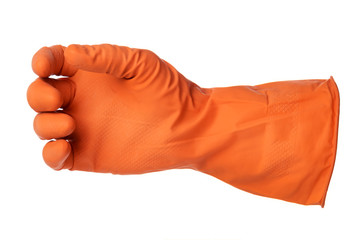 Hand with orange rubber glove holds something isolated on white background