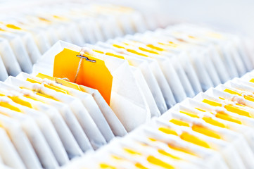 Teabag close-up in tea packaging