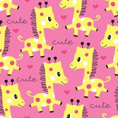 seamless pink giraffe pattern vector illustration