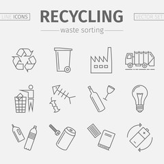 Recycling line icons. Waste sorting set. Vector.