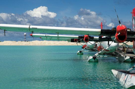 Sea planes ready to board in the sea