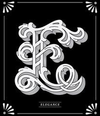 White Letter E on black background