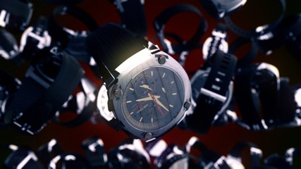 Luxury Watches on red background. 3D rendering