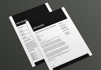 Lebenslauf- und Deckblatt-Layout in Fettdruck