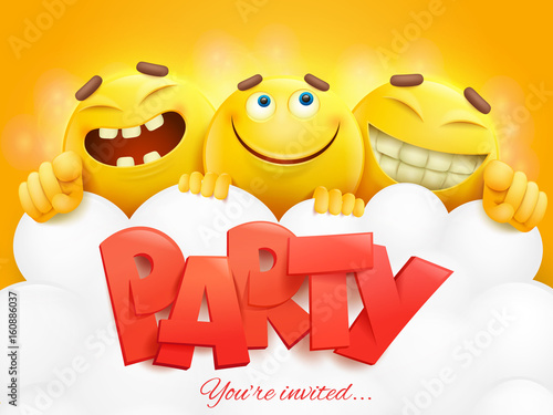 Party Invitation Card Template With Three Emoji Characters