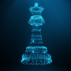 Abstract Low Poly Model, Chess Piece Queen consisting of blue dots and lines. Abstract illustration of business strategy, 3D rendering