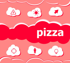 Text Pizza on digital background. Health food concept