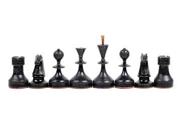 Chess pieces and board on a white background