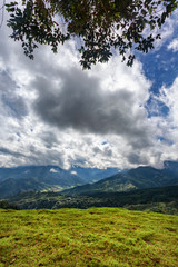 Portrait view of a rural valley near Salento, Colombia.