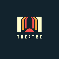 Theatre logo concept - vector illustration. Theatre, museum, bank or academy logo on dark background
