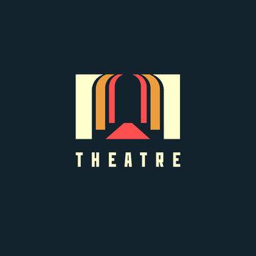 Theatre logo concept - vector illustration. Theatre, museum, bank or academy logo on dark background