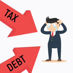 businessman crying frustated debt and tax cartoon vector illustration