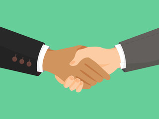 Handshake of business partners. Symbol of reaching an agreement, success and cooperation. Flat vector cartoon Handshake illustration.