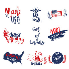 Made in USA set of grunge hand drawn labels with american flag, statue of liberty