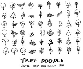 Tree Doodle icon line vector set eps10