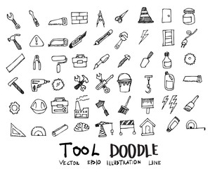 Tool Doodle icon line vector set eps10