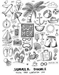 Summer Doodle line vector set eps10