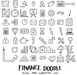 Finance Doodle icon line vector set eps10