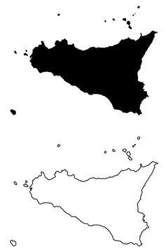 Sicily island map vector illustration, scribble sketch  Sicily island