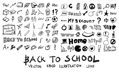 Freehand drawing school items on a sheet of exercise book. Back to School. Vector illustration. Set eps10