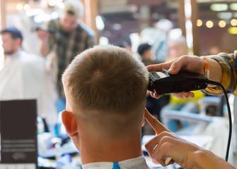 Close up of man having a haircut