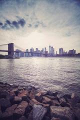 Vintage stylized sunset over New York City, USA