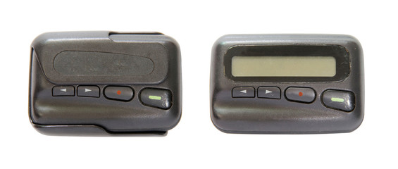 Old pager, telecommunication in olden with clipping path