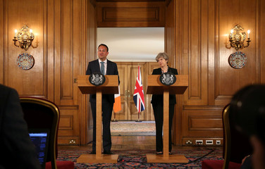 Britain's Prime Minister Theresa May and Ireland's Taoiseach Leo Varadkar attend a joint press conference following a meeting at 10 Downing Street, London