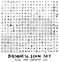 Business arrow bubble set sketch vector ink doodle eps10
