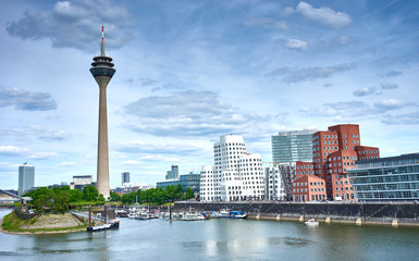 Media Harbor at Rhine in Dusseldorf in Germany / Famous place with buildings from Frank Gehry in Dusseldorf
