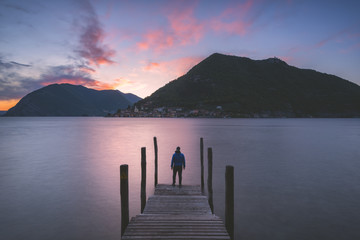 Iseo lake at sunset, Brescia province, Lombardy district, Italy, Europe