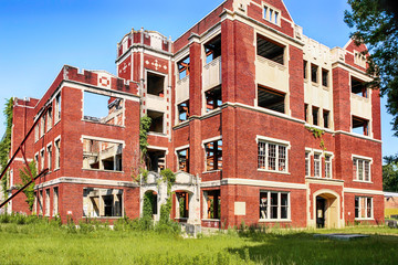The abandoned and wrecked High School building in Hattiesburg Mississippi, USA