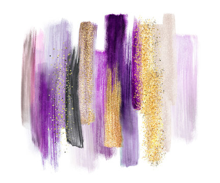 abstract watercolor brush strokes isolated on white background, paint smears, purple gold, palette swatches, modern wall art