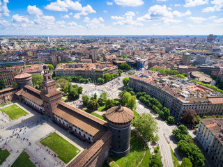 In de dag Milan Aerial photography view of Sforza castello castle in Milan city in Italy