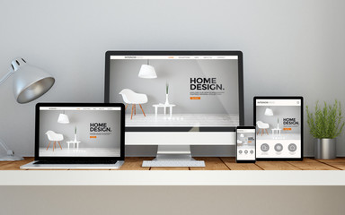 workplace with interior designonline responsive website on devices