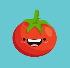Tomato kawaii cartoon. Cute tomato character design. Vector stock.