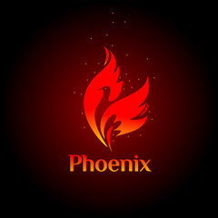 Phoenix logo- creative logo of mythological bird Fenix, a unique bird - a flame born from  ashes. Silhouette of a fire bird. Logo template in form of fire and bird coming out of flame and sparks.