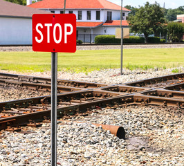 Railroad crossing Stop sign in Hattiesburg Mississippi