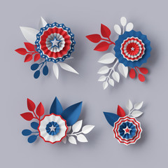 3d render, digital illustration, abstract red blue paper flowers, design elements set, party decoration, 4th july patriotic background, USA independence day celebration