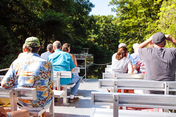 People on the boat tour at Homosassa Springs in Florida, USA