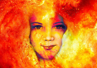 Goddess Child in Cosmic space. Cosmic Space background. eye contact. Fire effect.