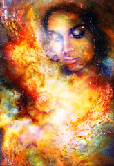 Mystic woman and sea shell in cosmic space.