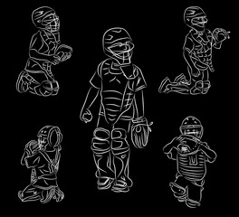 Simple line art doodle of youth baseball catching position on black background