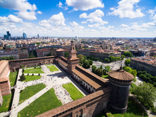 Fototapeten Milan Aerial photography view of Sforza castello castle in Milan city in Italy