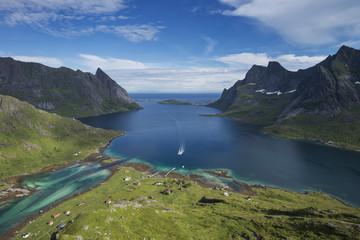 Passenger ferry arrives at isolated village of Vindstad