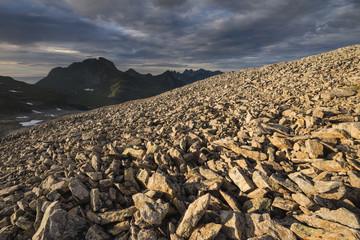 Rock debris on side of Stovla mountain peak