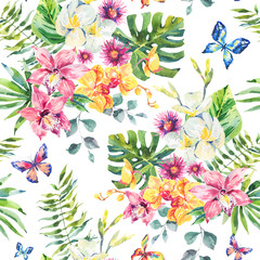 Tropical summer watercolor seamless pattern